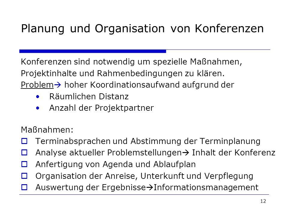 Planung und Organisation von Konferenzen