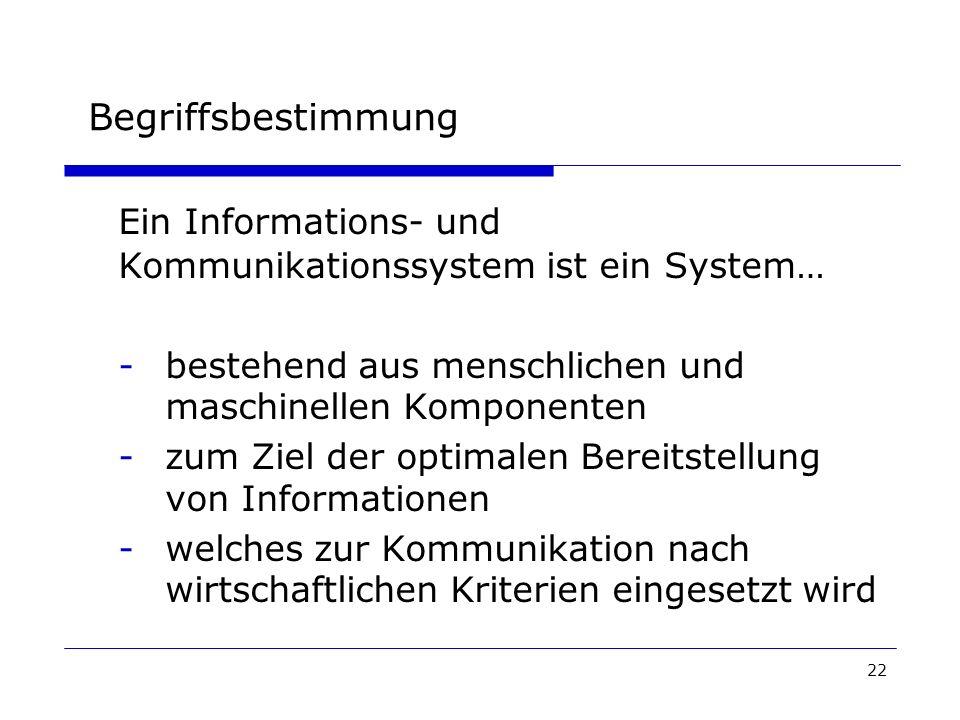 Begriffsbestimmung Ein Informations- und Kommunikationssystem ist ein System… - bestehend aus menschlichen und maschinellen Komponenten.