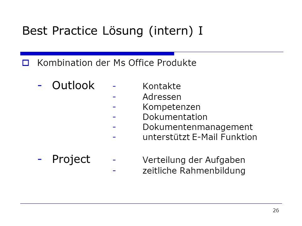 Best Practice Lösung (intern) I