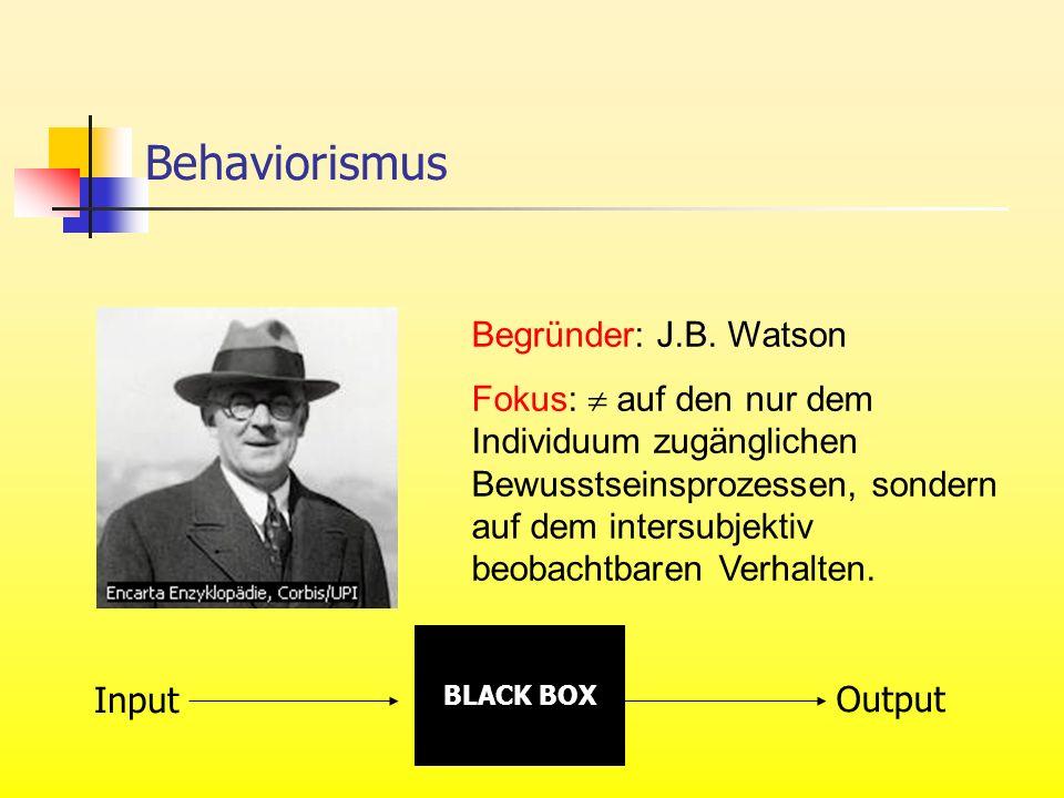 Behaviorismus Begründer: J.B. Watson