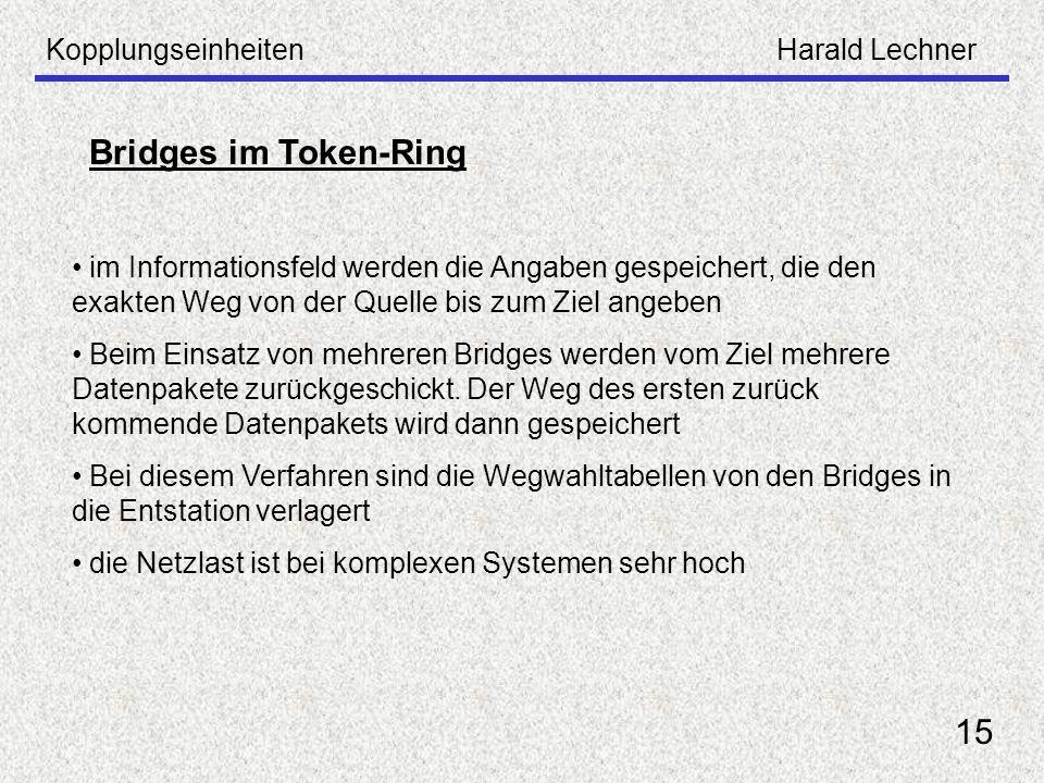 Bridges im Token-Ring 15 Kopplungseinheiten Harald Lechner