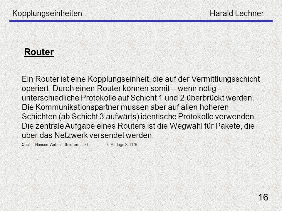 Router 16 Kopplungseinheiten Harald Lechner