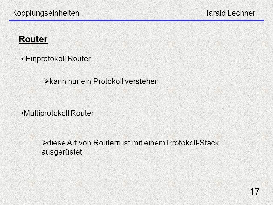 Router 17 Kopplungseinheiten Harald Lechner Einprotokoll Router