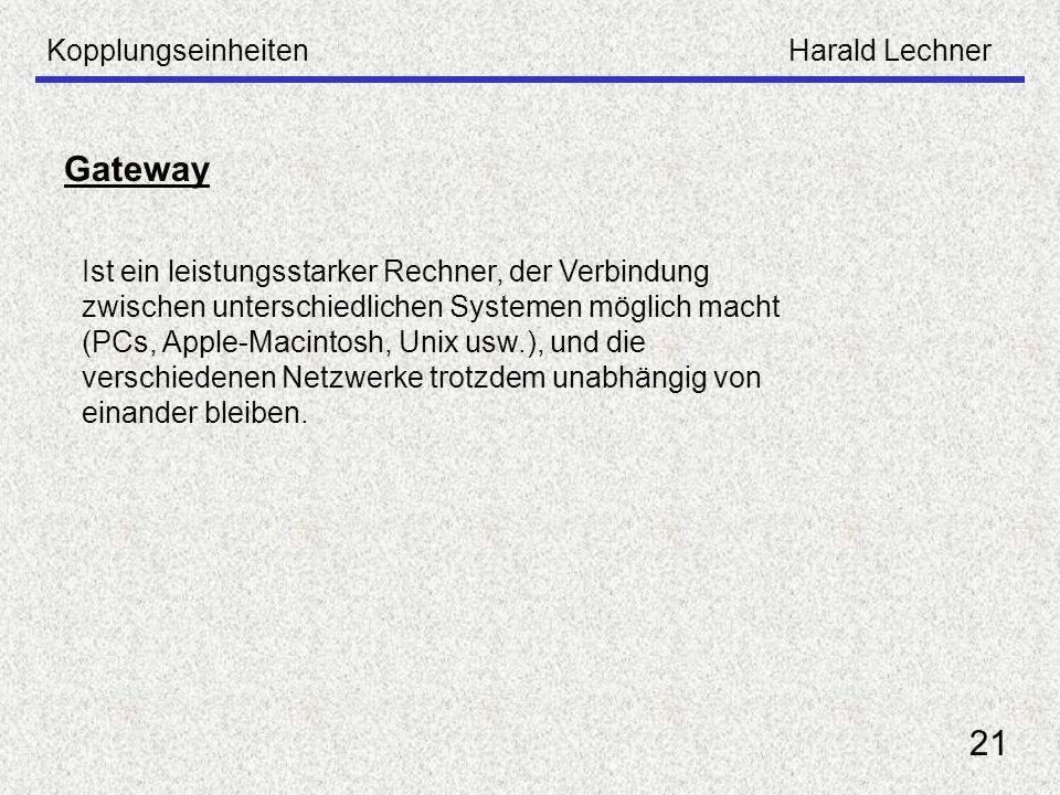 Gateway 21 Kopplungseinheiten Harald Lechner