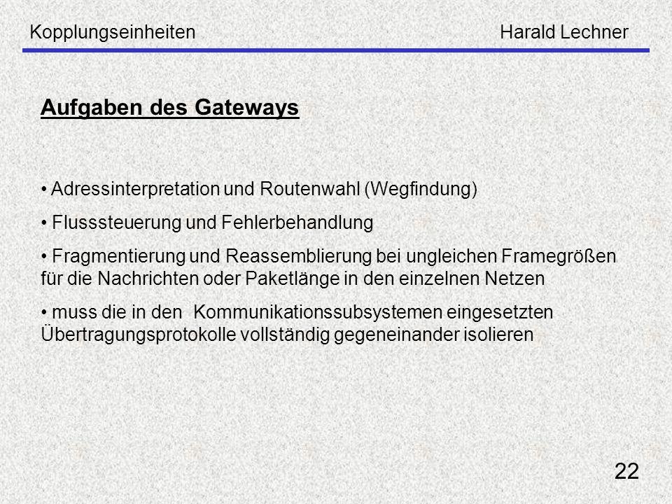 Aufgaben des Gateways 22 Kopplungseinheiten Harald Lechner
