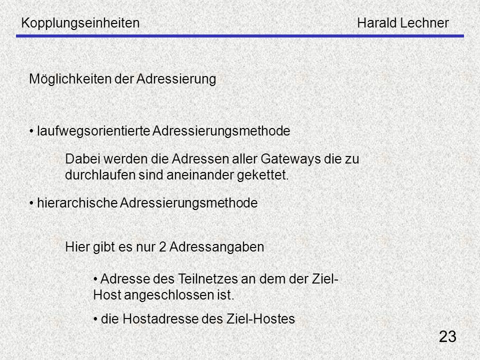 23 Kopplungseinheiten Harald Lechner Möglichkeiten der Adressierung