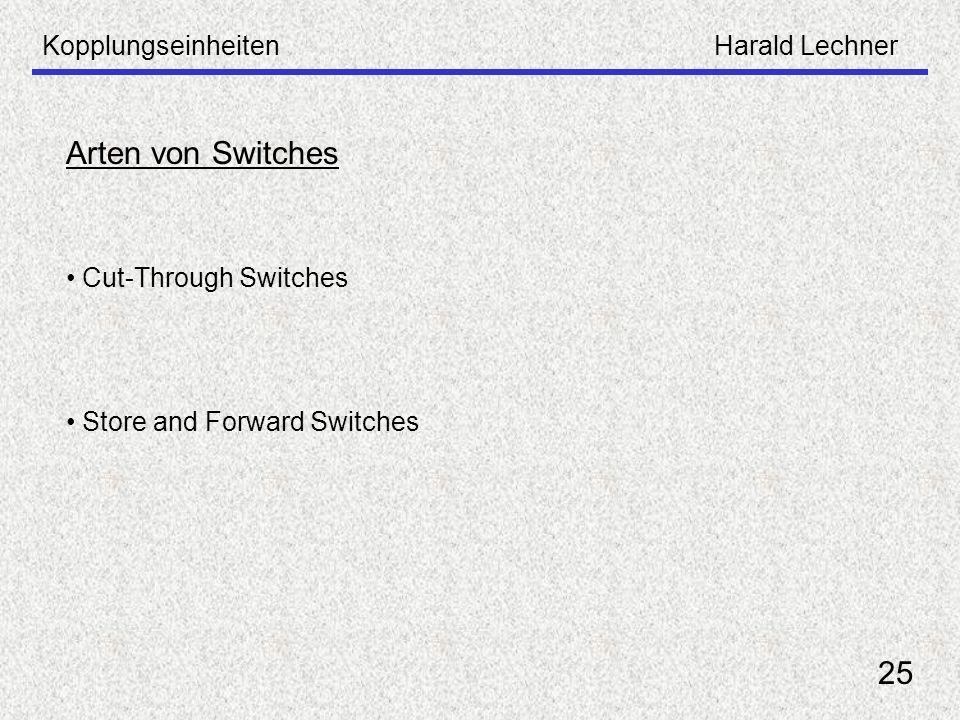 Arten von Switches 25 Kopplungseinheiten Harald Lechner