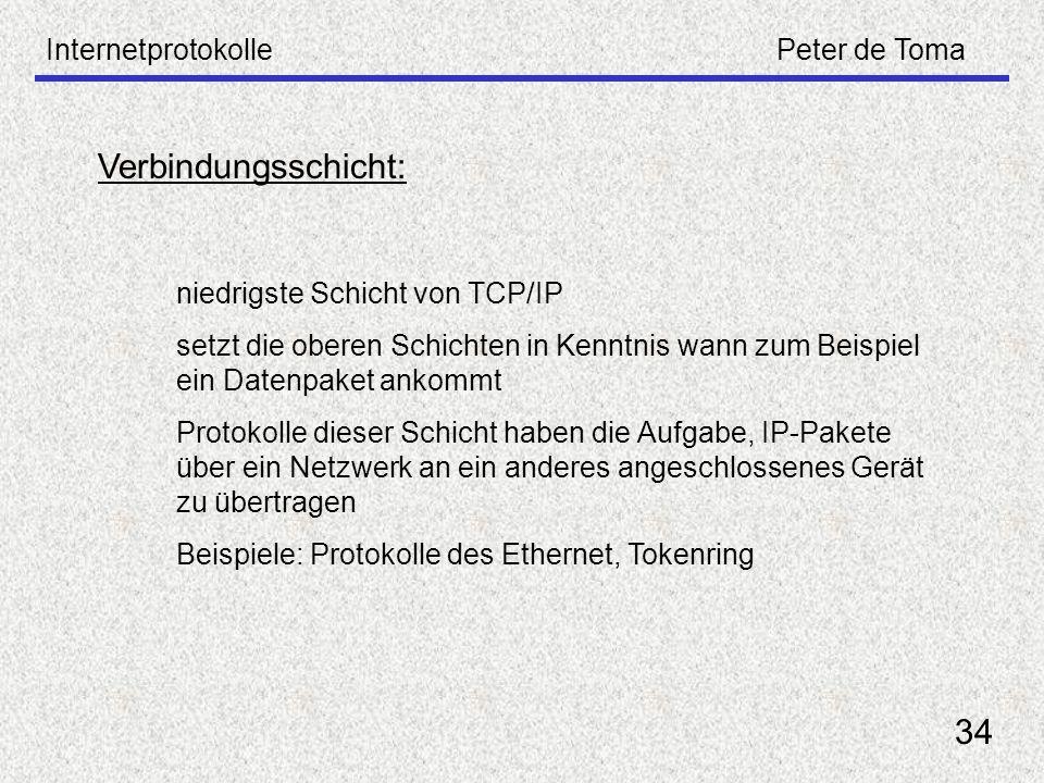 Verbindungsschicht: 34 Internetprotokolle Peter de Toma