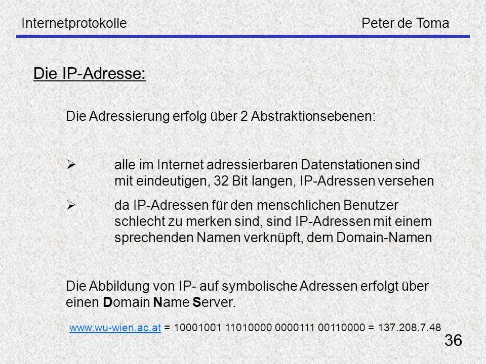 Die IP-Adresse: 36 Internetprotokolle Peter de Toma
