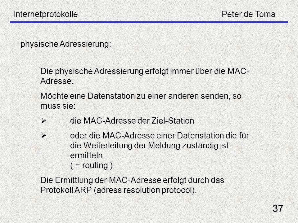 37 Internetprotokolle Peter de Toma physische Adressierung: