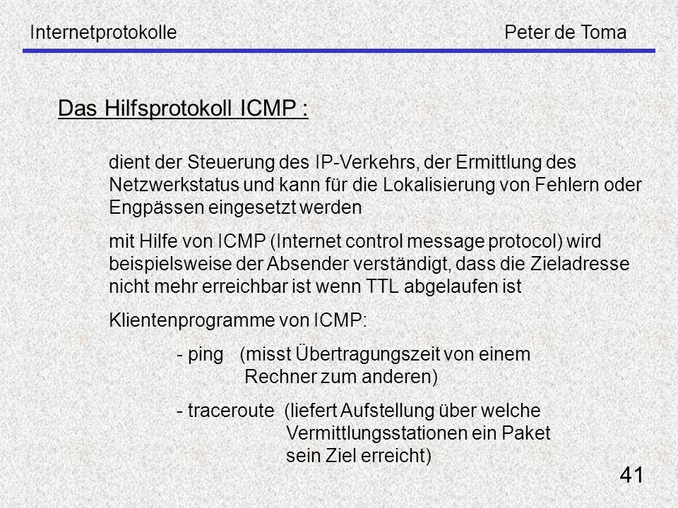 Das Hilfsprotokoll ICMP :