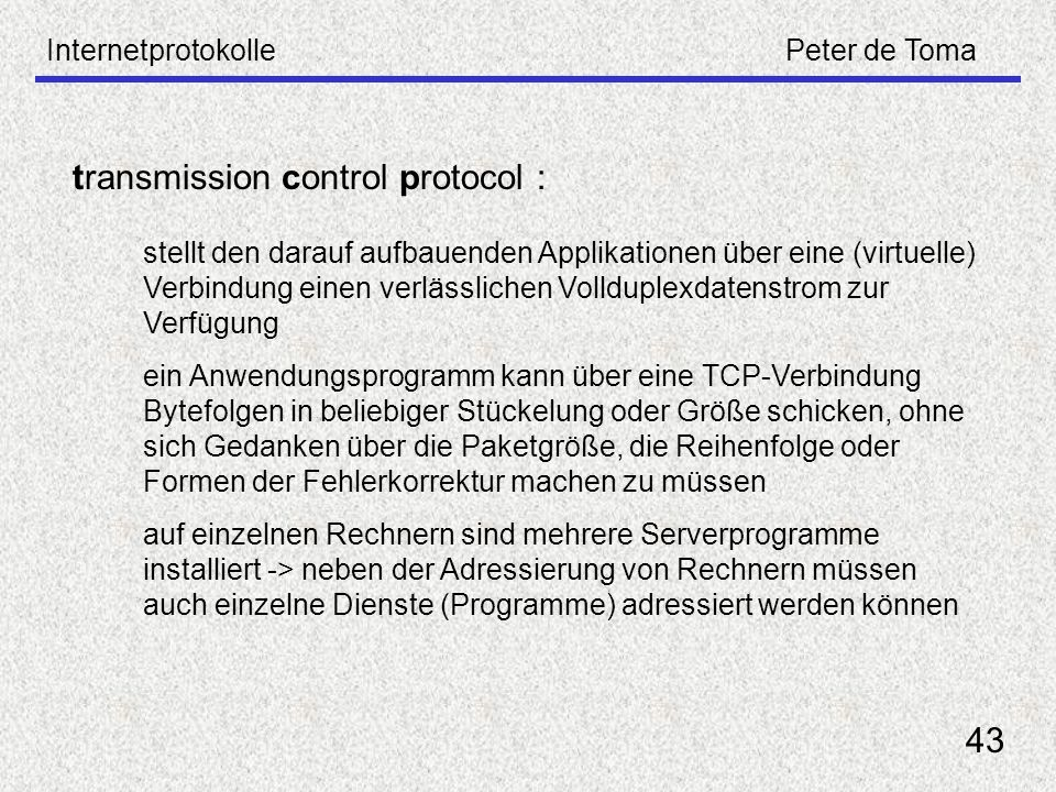 transmission control protocol :