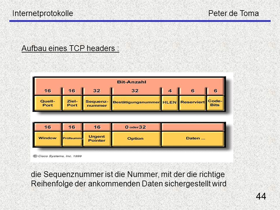 44 Internetprotokolle Peter de Toma Aufbau eines TCP headers :