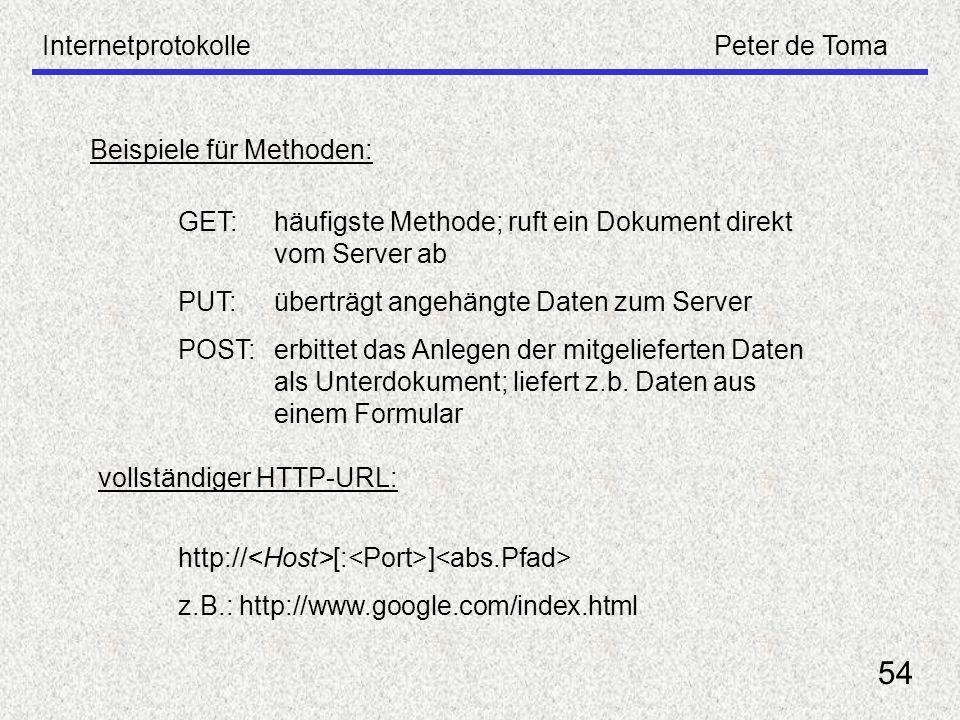 54 Internetprotokolle Peter de Toma Beispiele für Methoden: