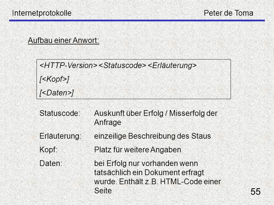 55 Internetprotokolle Peter de Toma Aufbau einer Anwort: