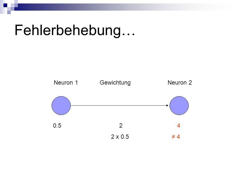 Fehlerbehebung… Neuron 1 Gewichtung Neuron 2.