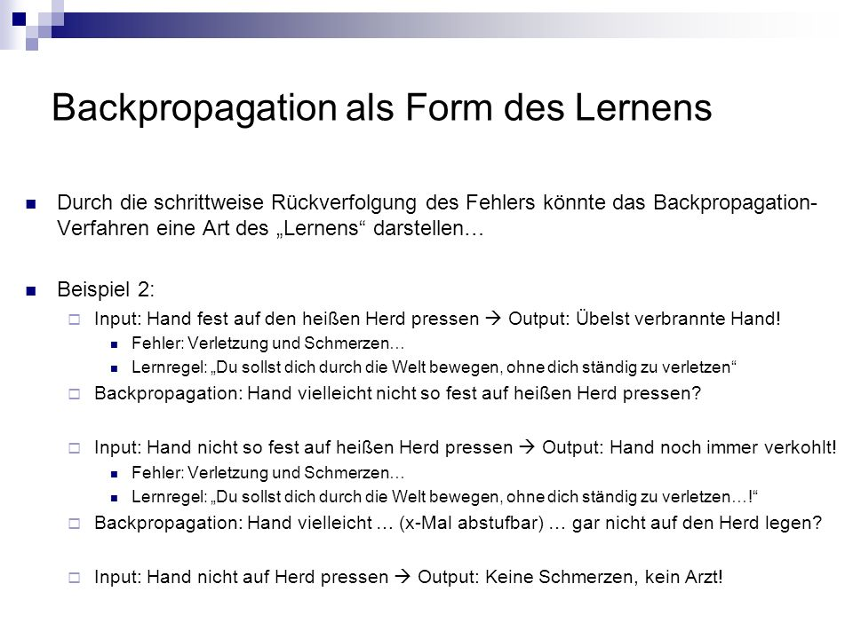 Backpropagation als Form des Lernens