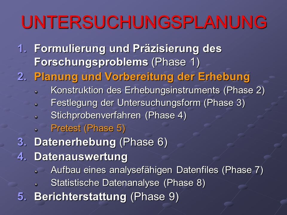 UNTERSUCHUNGSPLANUNG