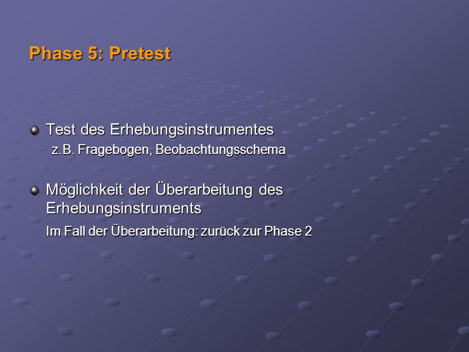 Phase 5: Pretest Test des Erhebungsinstrumentes