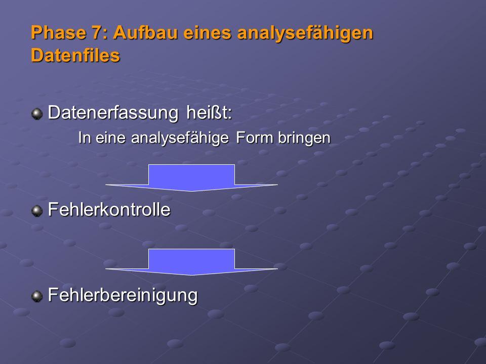 Phase 7: Aufbau eines analysefähigen Datenfiles