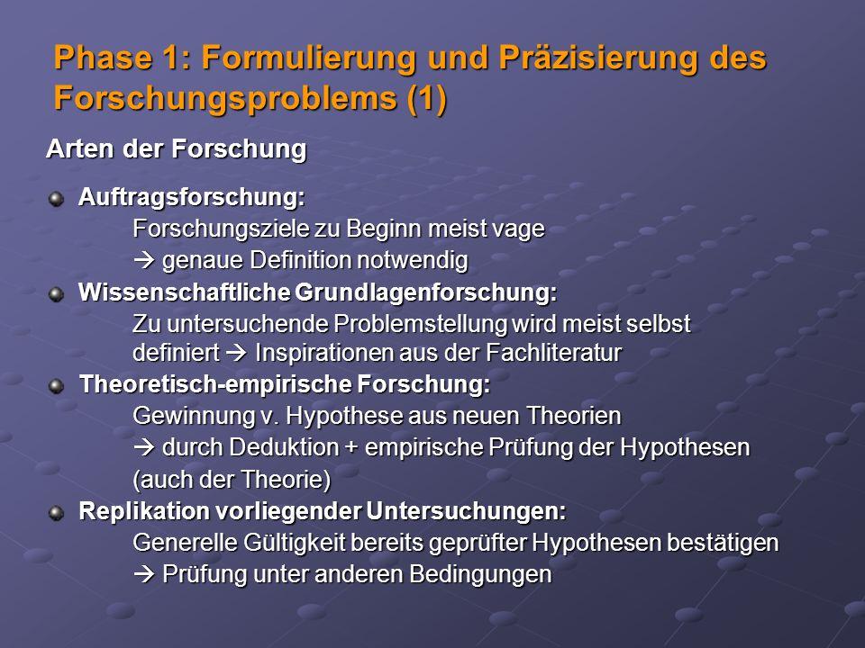 Phase 1: Formulierung und Präzisierung des Forschungsproblems (1)