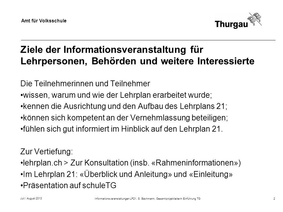 Ziele der Informationsveranstaltung für Lehrpersonen, Behörden und weitere Interessierte