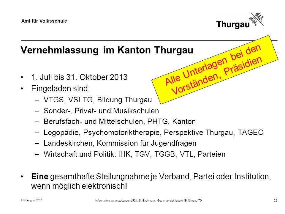 Vernehmlassung im Kanton Thurgau