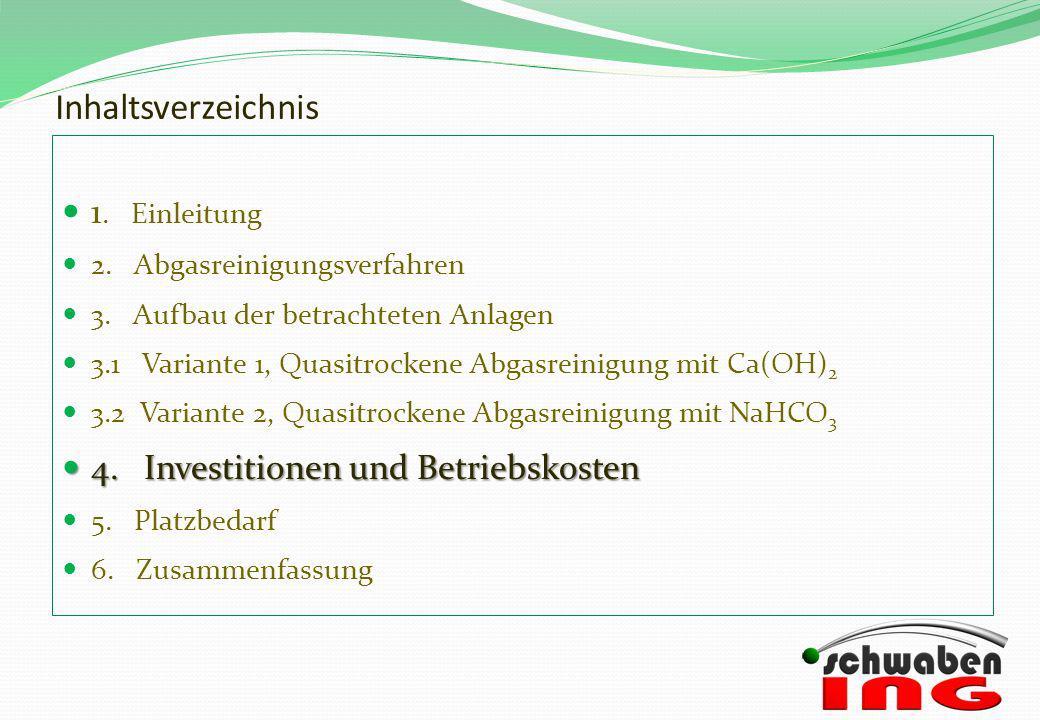 Inhaltsverzeichnis 1. Einleitung 4. Investitionen und Betriebskosten