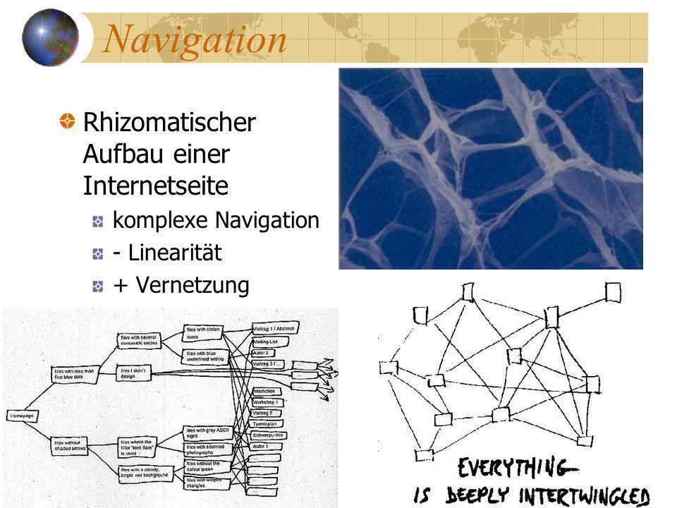 Navigation Rhizomatischer Aufbau einer Internetseite