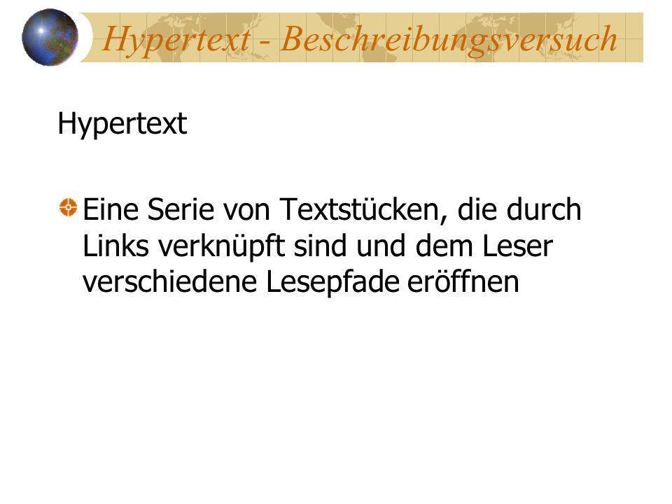 Hypertext - Beschreibungsversuch