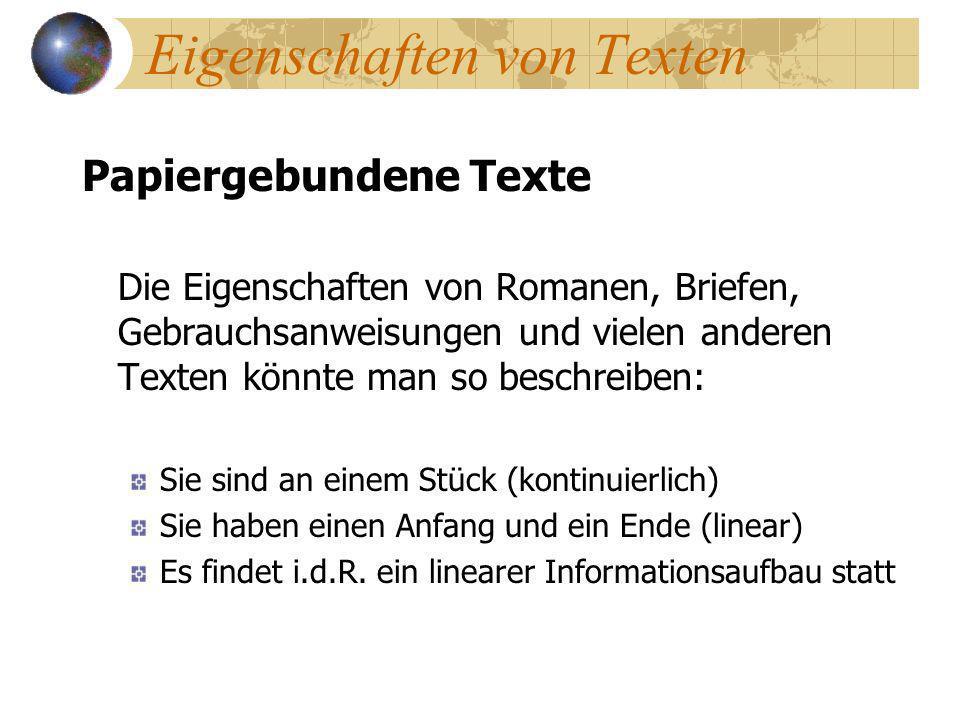 Eigenschaften von Texten
