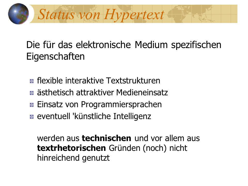 Status von Hypertext Die für das elektronische Medium spezifischen Eigenschaften. flexible interaktive Textstrukturen.