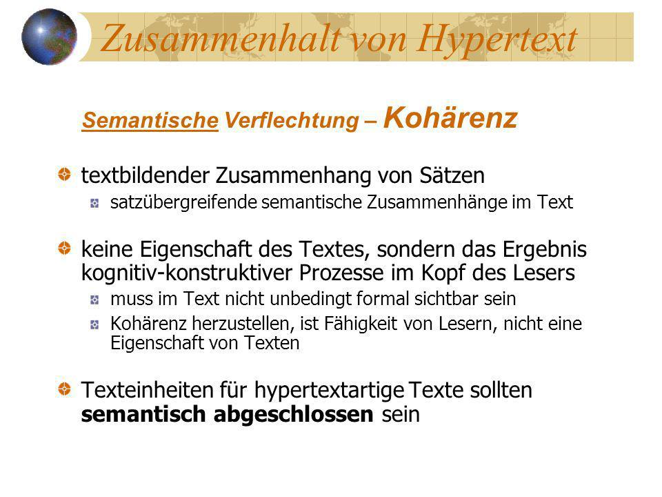 Zusammenhalt von Hypertext