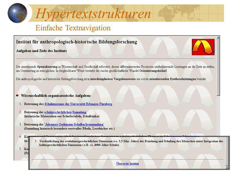 Hypertextstrukturen Einfache Textnavigation