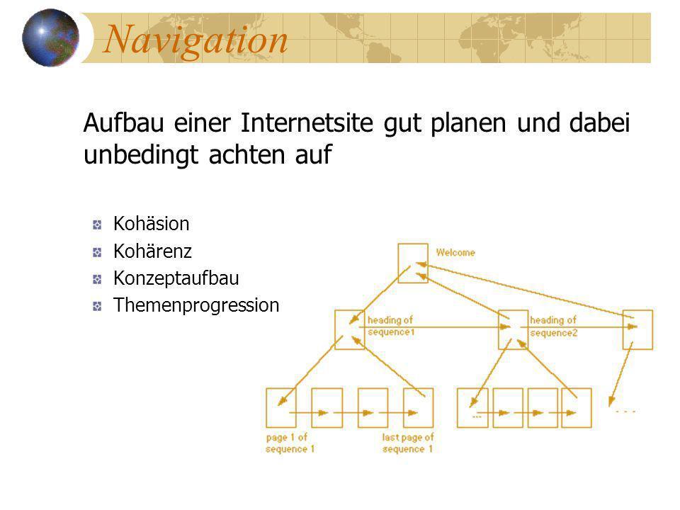 Navigation Aufbau einer Internetsite gut planen und dabei unbedingt achten auf. Kohäsion. Kohärenz.