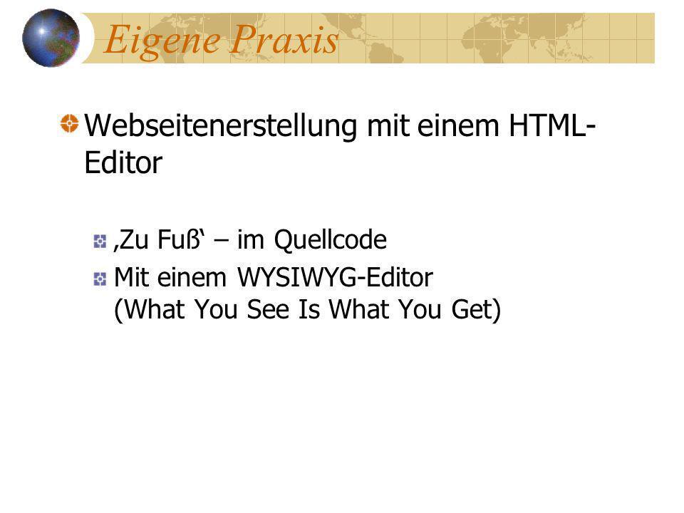 Eigene Praxis Webseitenerstellung mit einem HTML-Editor