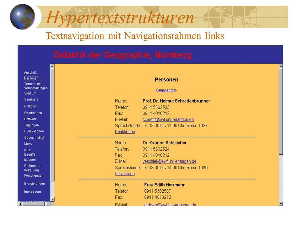 Hypertextstrukturen Textnavigation mit Navigationsrahmen links
