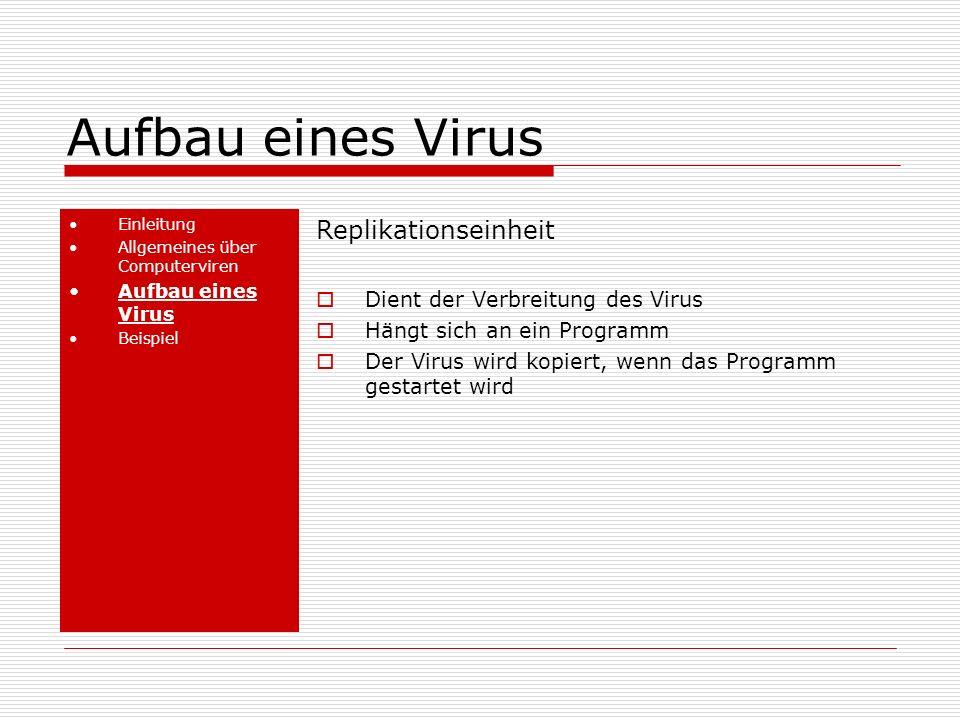 Aufbau eines Virus Replikationseinheit Dient der Verbreitung des Virus