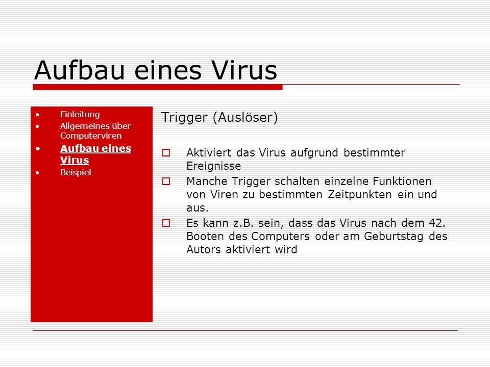 Aufbau eines Virus Trigger (Auslöser)