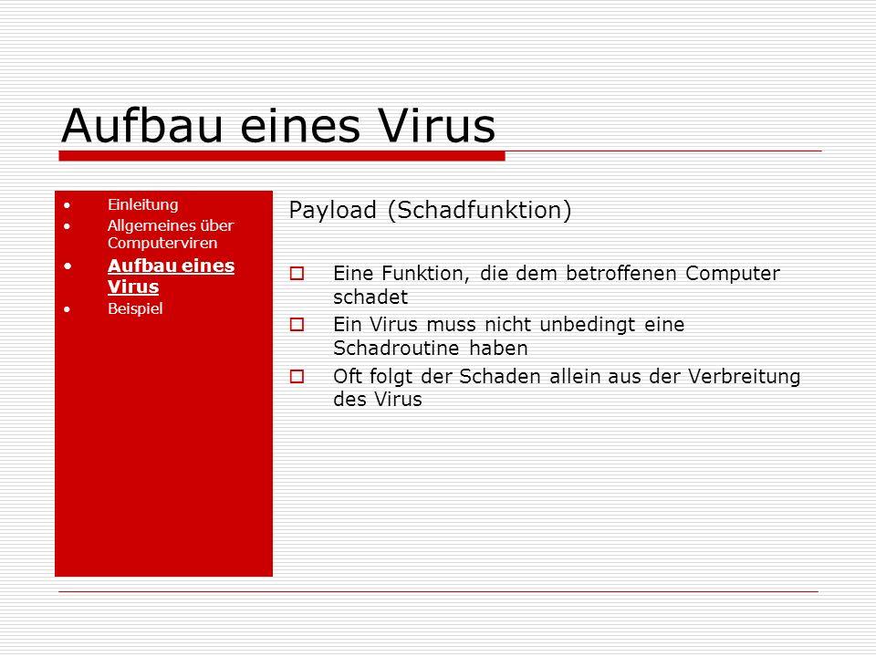 Aufbau eines Virus Payload (Schadfunktion)