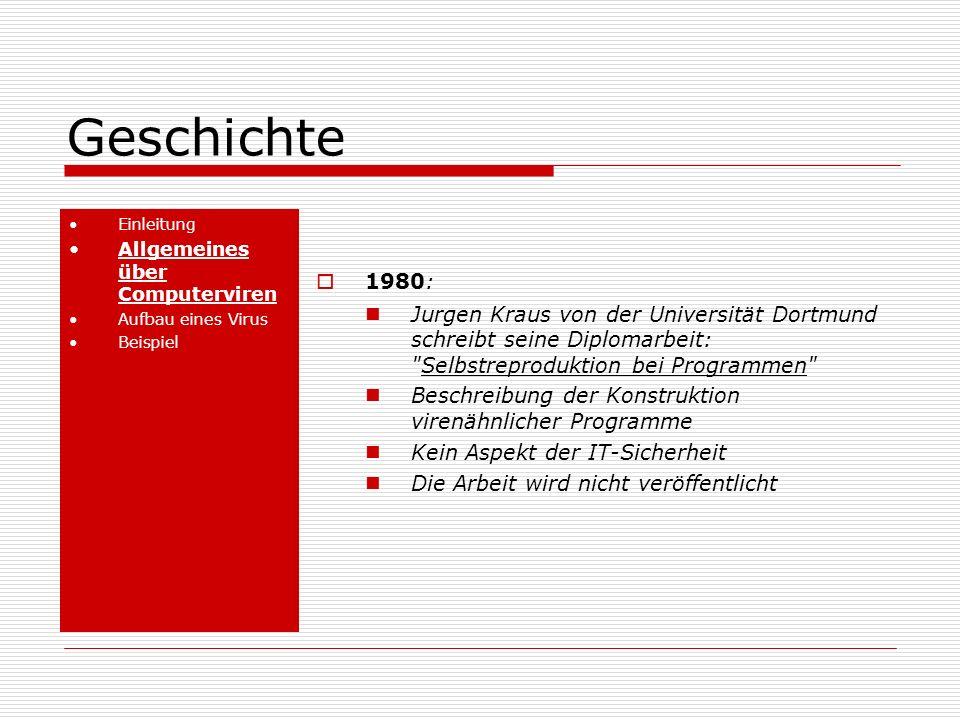 Geschichte Einleitung. Allgemeines über Computerviren. Aufbau eines Virus. Beispiel. 1980: