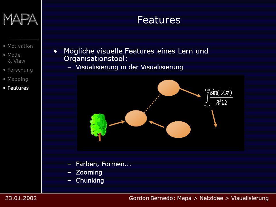 Features Mögliche visuelle Features eines Lern und Organisationstool: