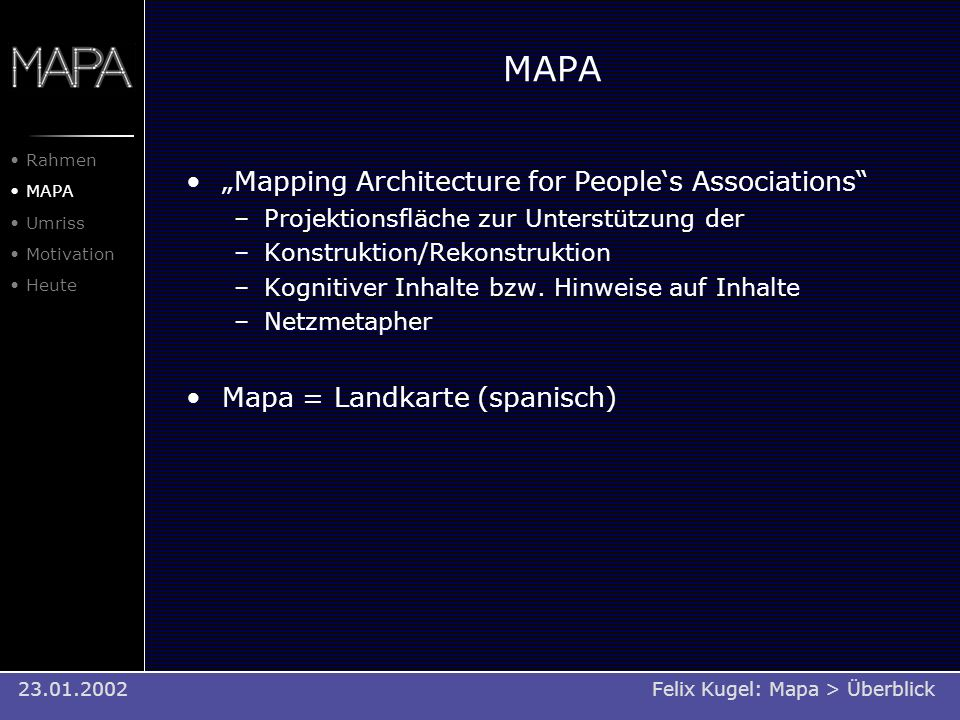 "MAPA ""Mapping Architecture for People's Associations"