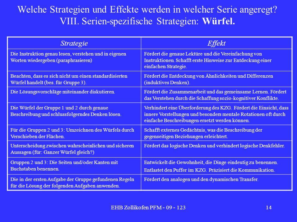 Welche Strategien und Effekte werden in welcher Serie angeregt. VIII