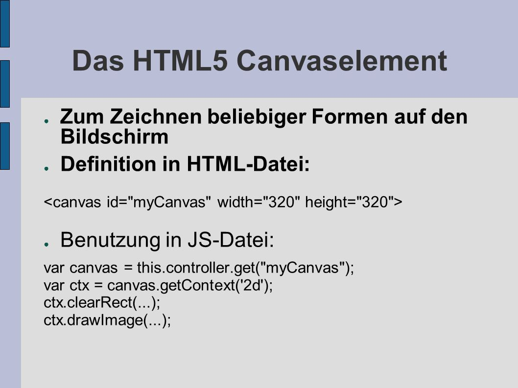Das HTML5 Canvaselement