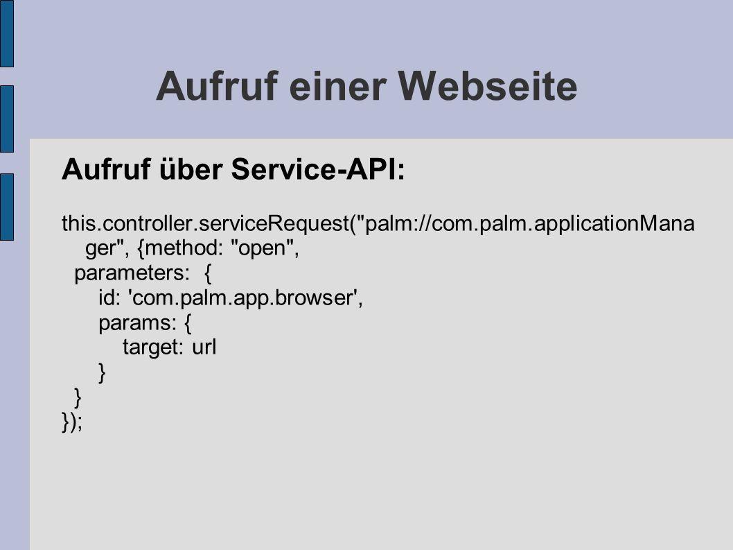 Aufruf einer Webseite Aufruf über Service-API: