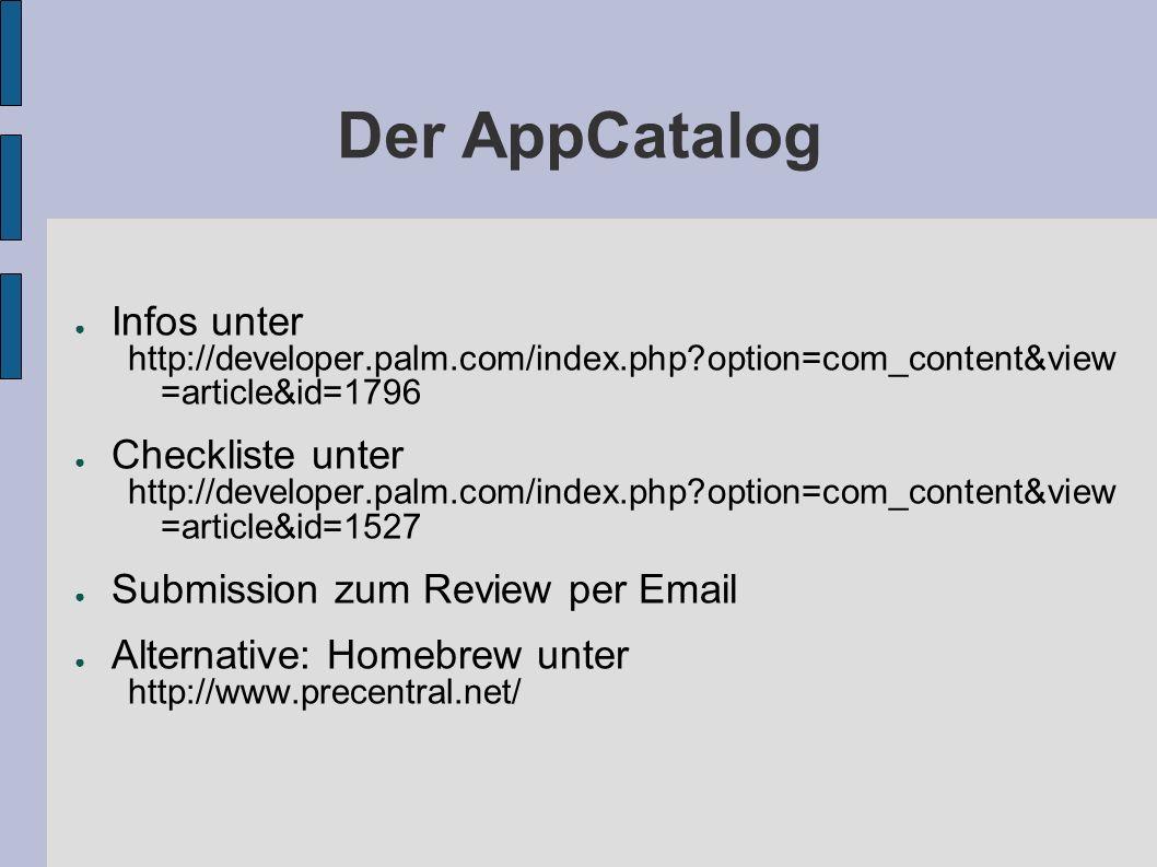 Der AppCatalog Infos unter Checkliste unter