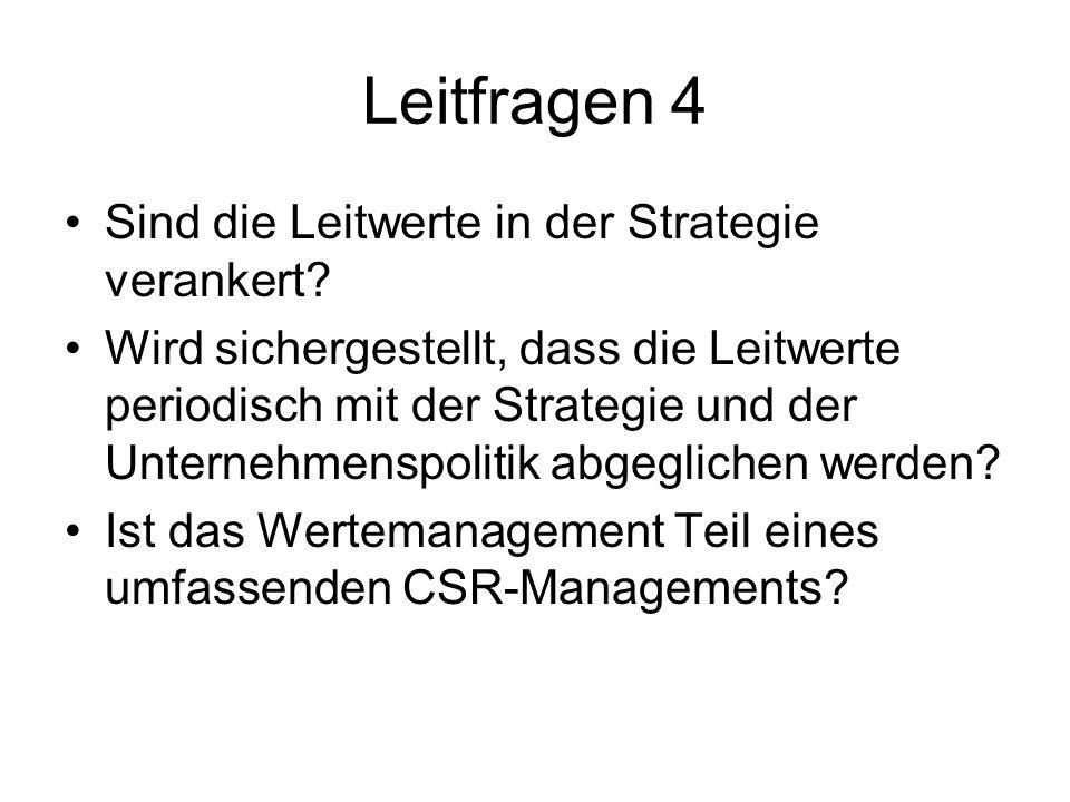 Leitfragen 4 Sind die Leitwerte in der Strategie verankert