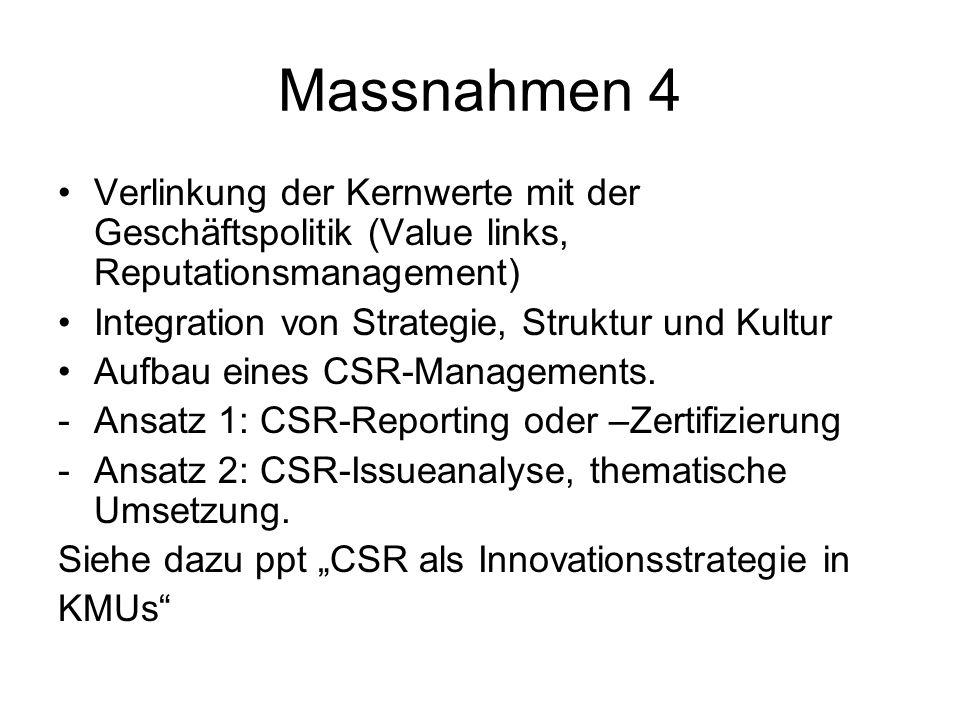 Massnahmen 4 Verlinkung der Kernwerte mit der Geschäftspolitik (Value links, Reputationsmanagement)