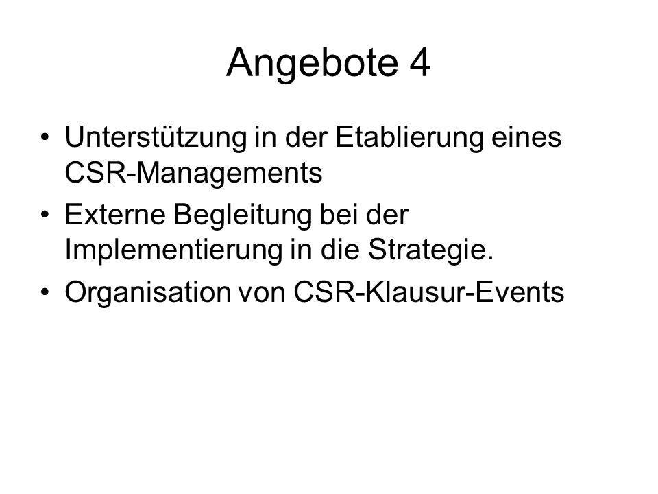Angebote 4 Unterstützung in der Etablierung eines CSR-Managements